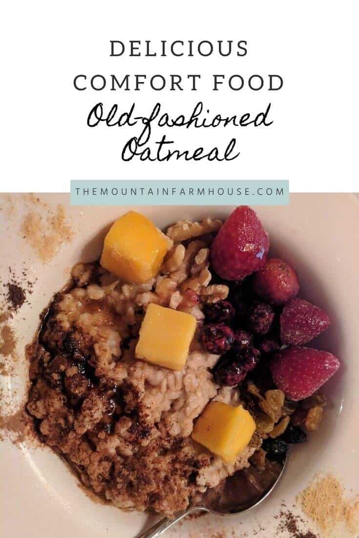 pinterest pin oatmeal mango cubes blueberries strawberries spices