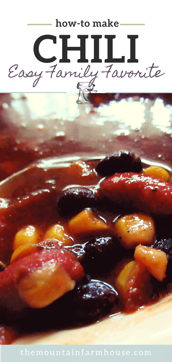 chili with beans and corn on spoon