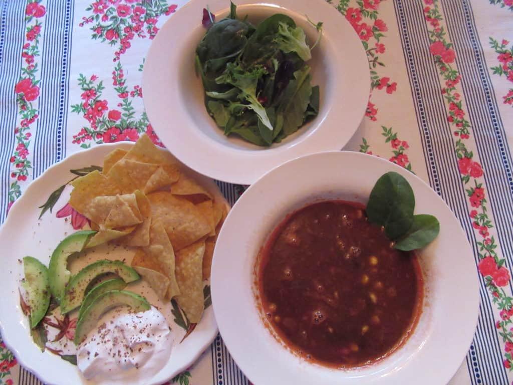 chili salad chips avocado sour cream - vegan