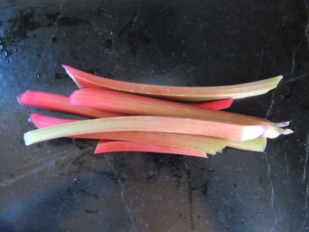 Trimmed rhubarb stalks