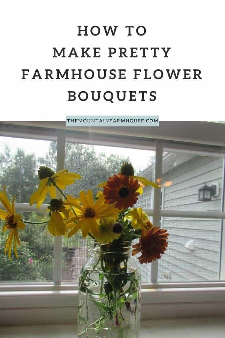 Pinterest The Mountain Farmhouse How to make pretty farmhouse flower bouquets yellow and orange flowers in mason jar on windowsill