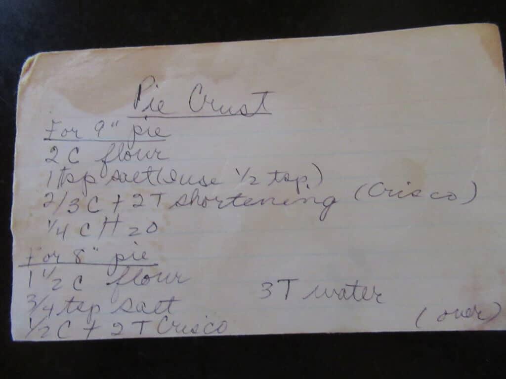 Grandma's Pie Crust Recipe Card - Side One