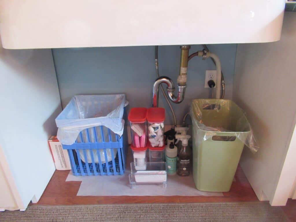 Organized under the kitchen sink