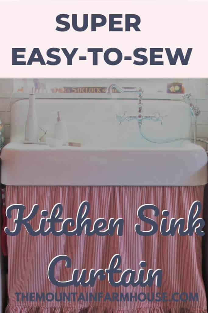 Pinterest image farmhouse sink with curtain