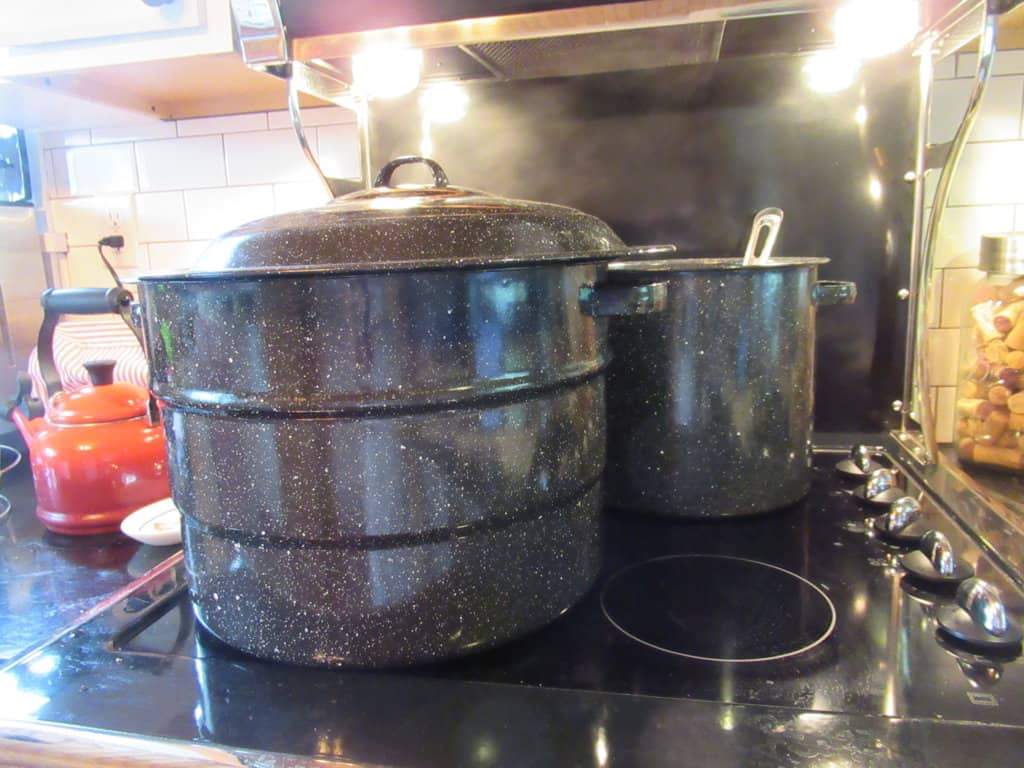 Canner atop stove
