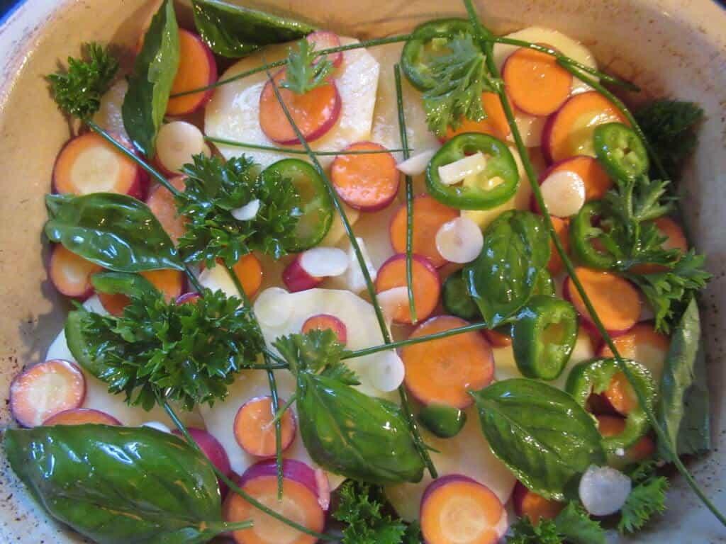 Potatoes, carrots, herbs