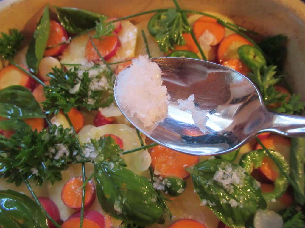 Vegetables with flaked sea salt