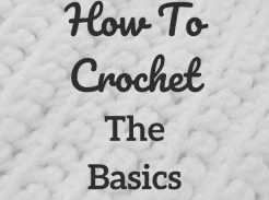 "White Yarn single crochet with writing ""How to Crochet The Basics"""