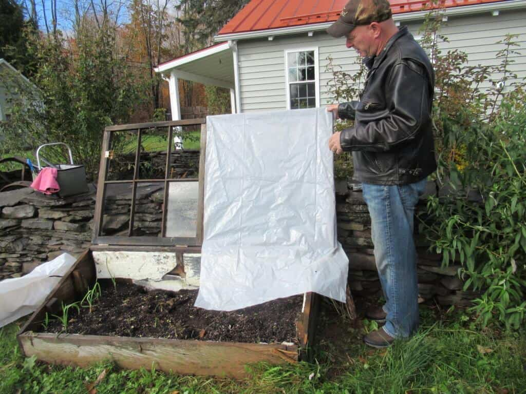 Cold frame with plastic sheeting