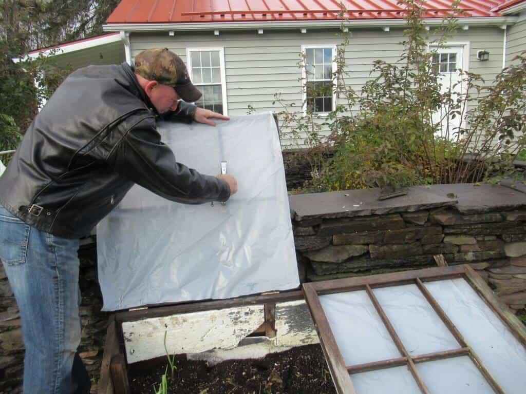 Stapling plastic sheeting
