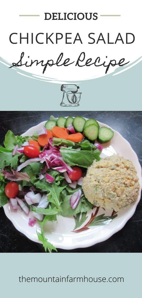 Pinterest pin raw vegetables with scoop of chickpea salad