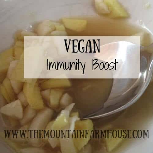 Garlic, ginger, lemon juice, agave with spoon Vegan Immunity Boost