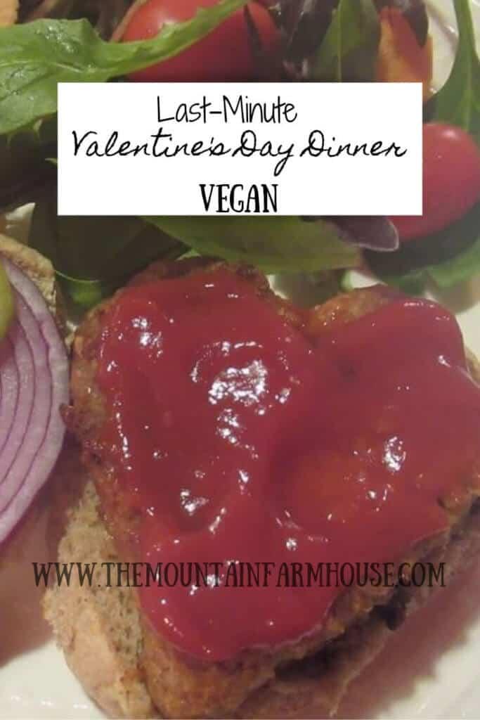 Heart-shaped vegan burger with ketchup