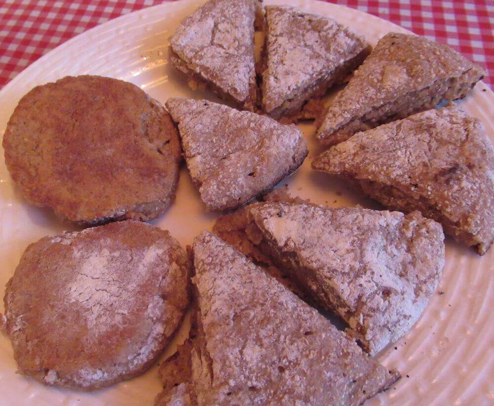 Round and wedge shaped sourdough scones