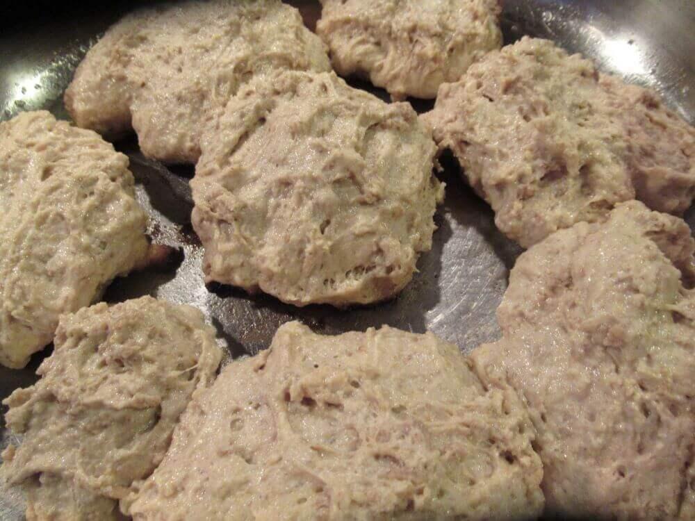 Sourdough scones cooking in pan