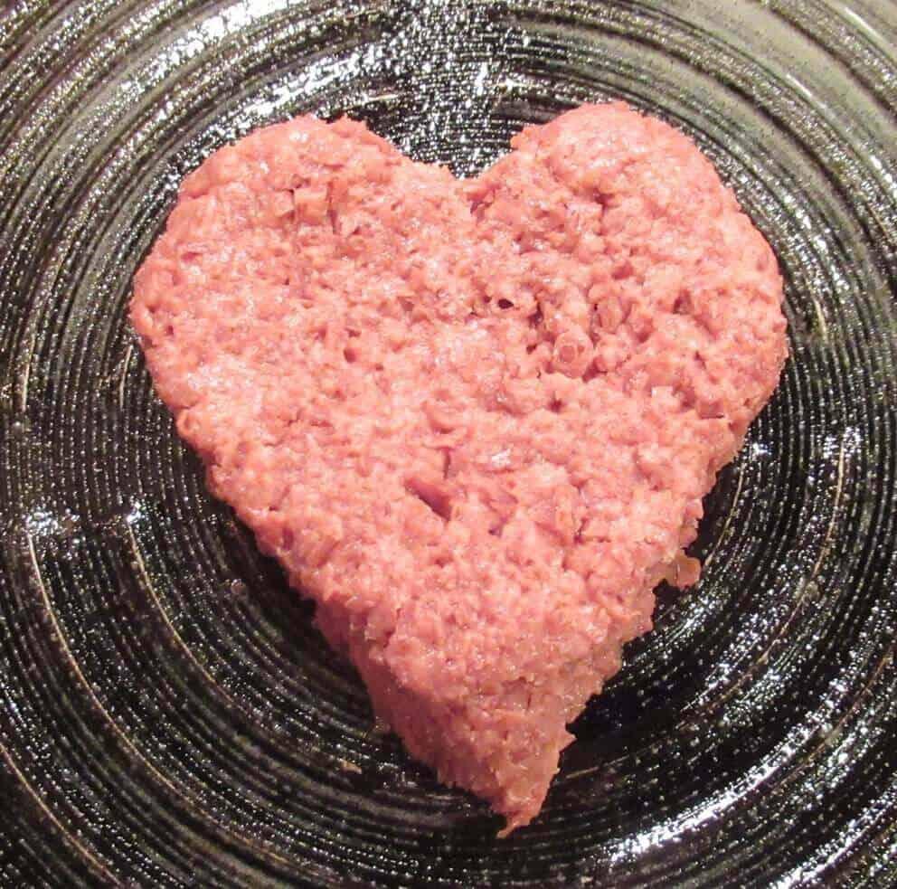 Heart-shaped vegan burger