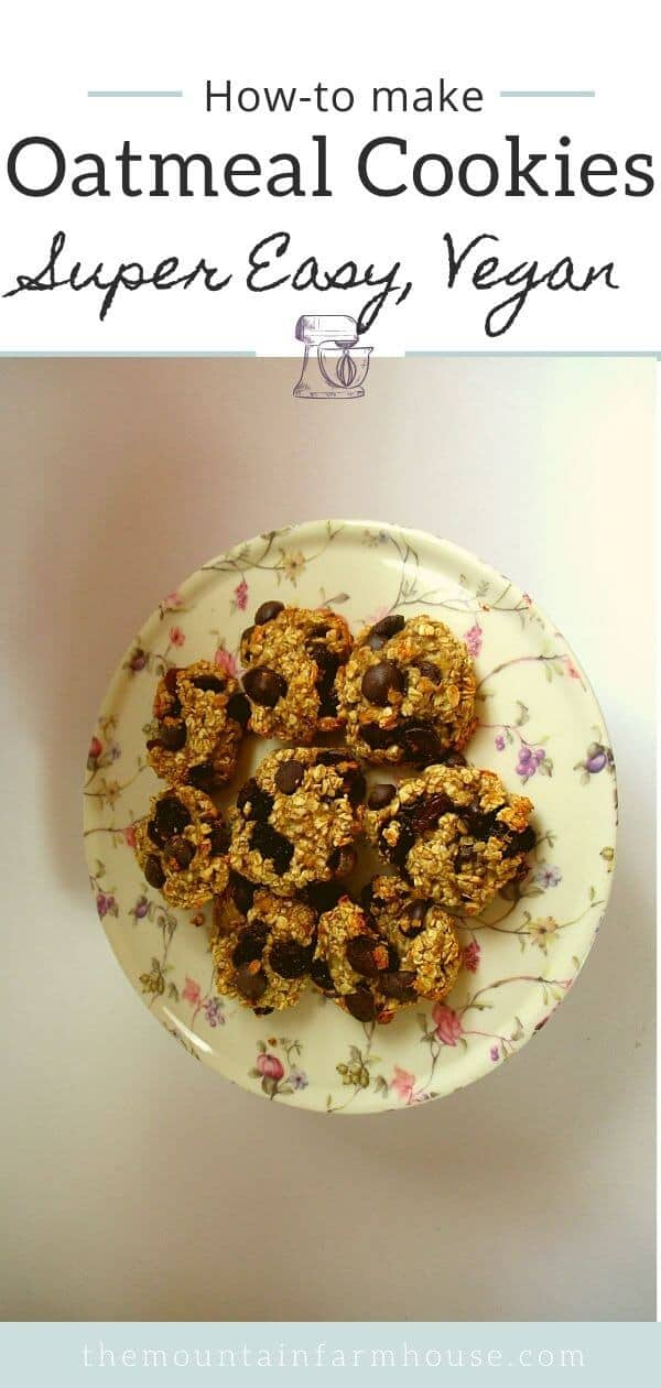 flowered dish of oatmeal cookies