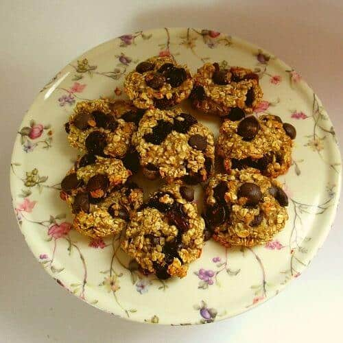 Oatmeal cookies on a flowered plate