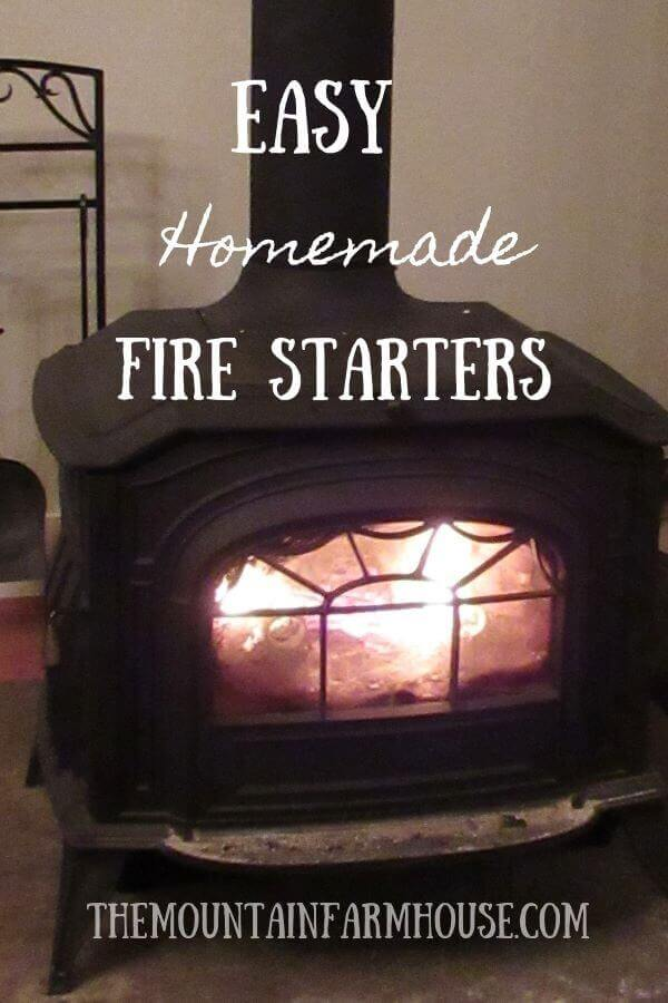 Fire ablaze in wood-burning stove from quick easy fire starters