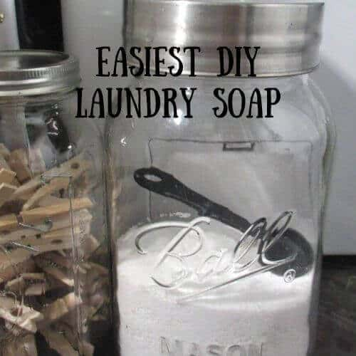 Easiest DIY Laundry Soap in mason jar with scoop and clothes pins