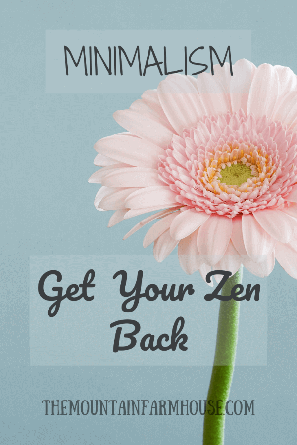 Minimalism Get Your Zen Back pink flower with sky blue background themountainfarmhouse.com