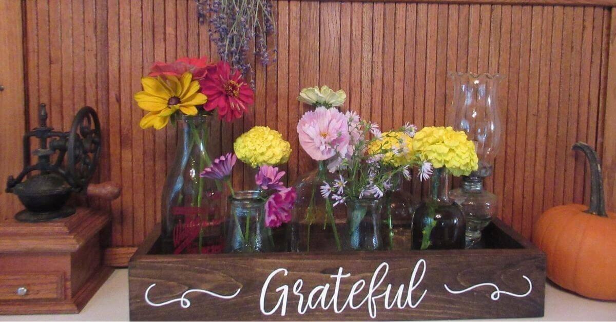 """Lavender, coffee grinder, pumpkin, flower bouquets in """"Grateful"""" box"""