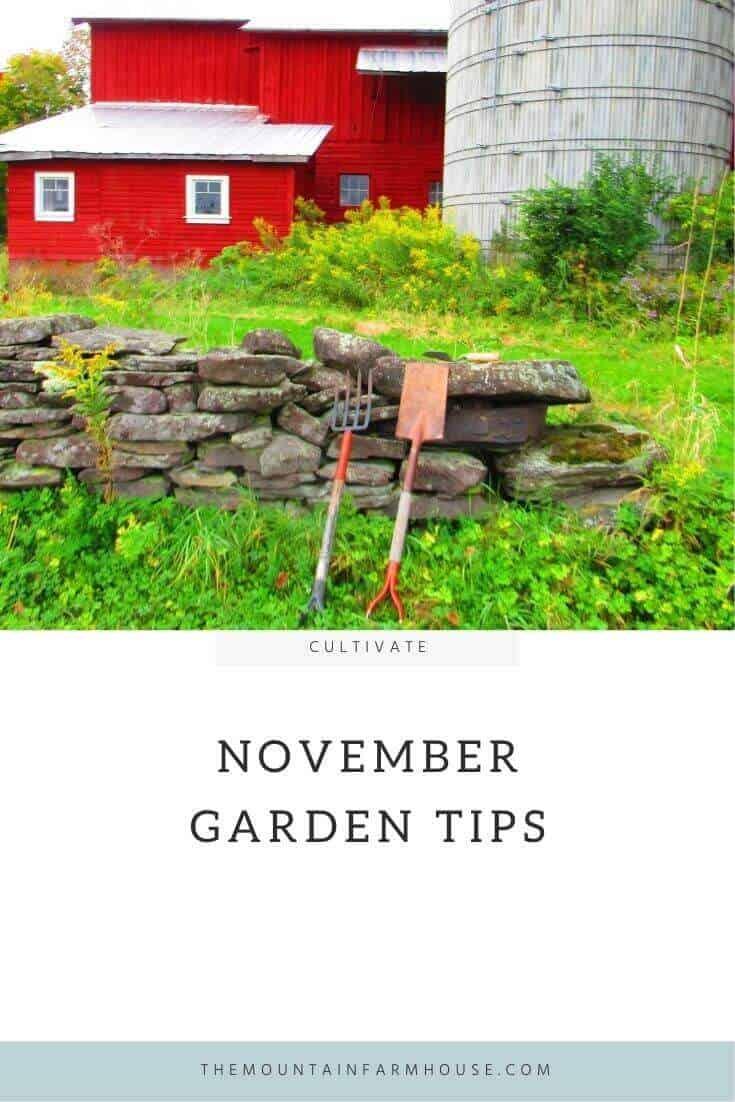 Barn, silo, stone fence, garden, pitchfork, hoe