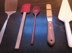 Cooking tools including spatula, scraper, turner, spoon, cake server