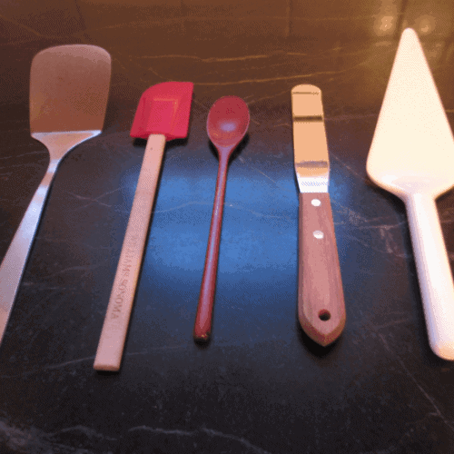 Cooking tools including spatula, scraper, turner, spoon, cake server
