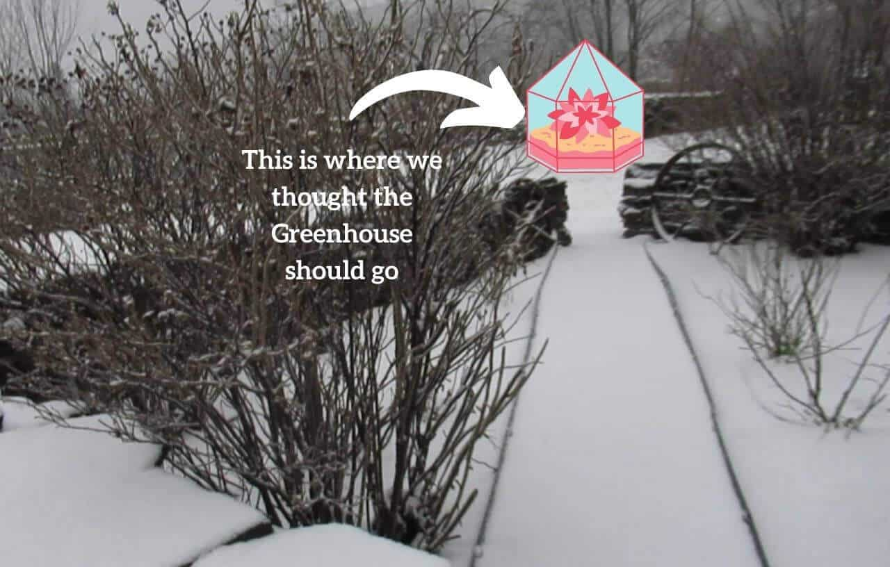 Snowy rose garden illustration of greenhouse placement
