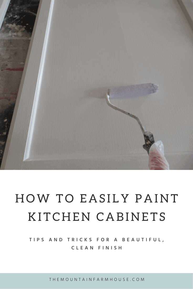 Pinterest Pin How to easily paint kitchen cabinets rolling white paint on cabinet door