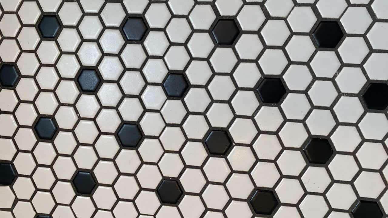 Black and white hexagonal tile floor