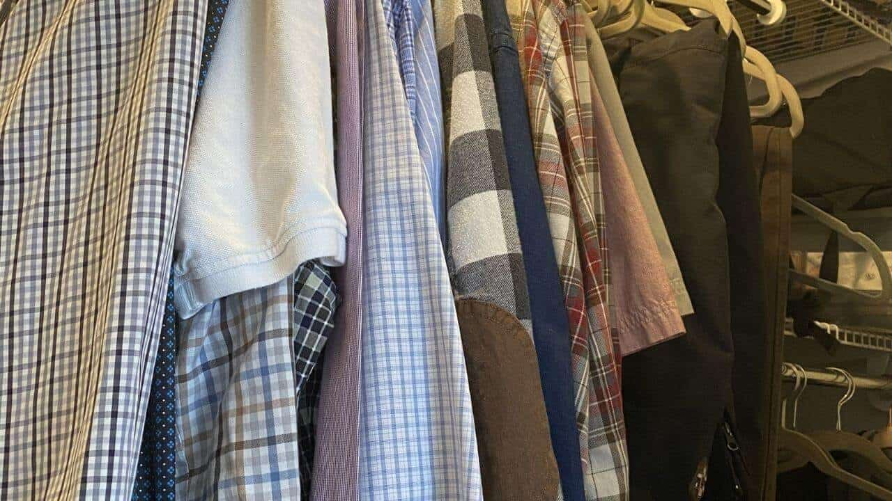 Shirts hanging in closet
