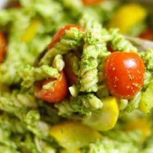 Arugula and Basil Pesto Pasta Salad with tomatoes