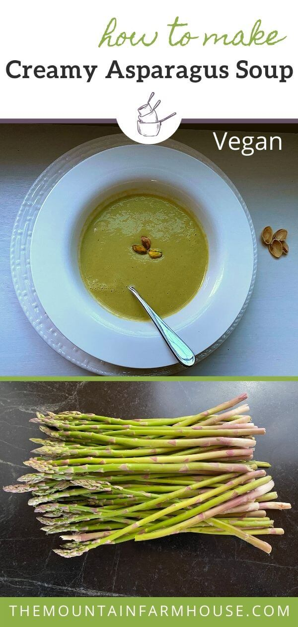 white bowl of green asparagus soup with spoon and pistachios plus fresh asparagus spears