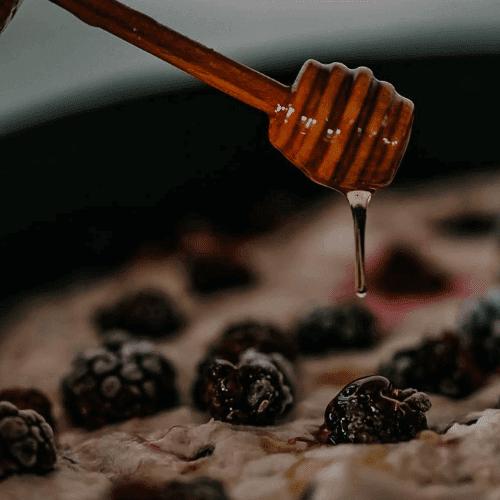 Dewberry focaccia honey drizzling