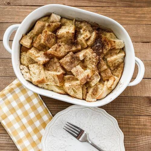 Sourdough French Toast Casserole fork, plate, checked napkin