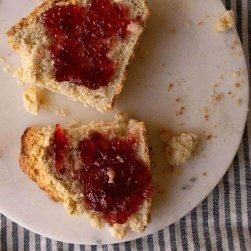 sourdough Irish soda bread with jam