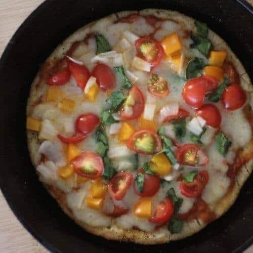 Cast iron skillet sourdough pizza