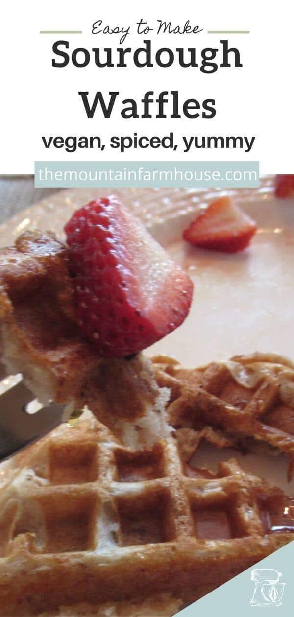 Pinterest pin forkful waffle strawberry white plate