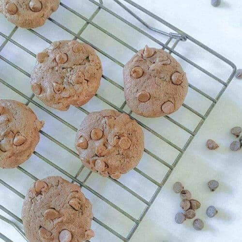Chewy Double Chocolate Sourdough Discard Cookies on cooling rack